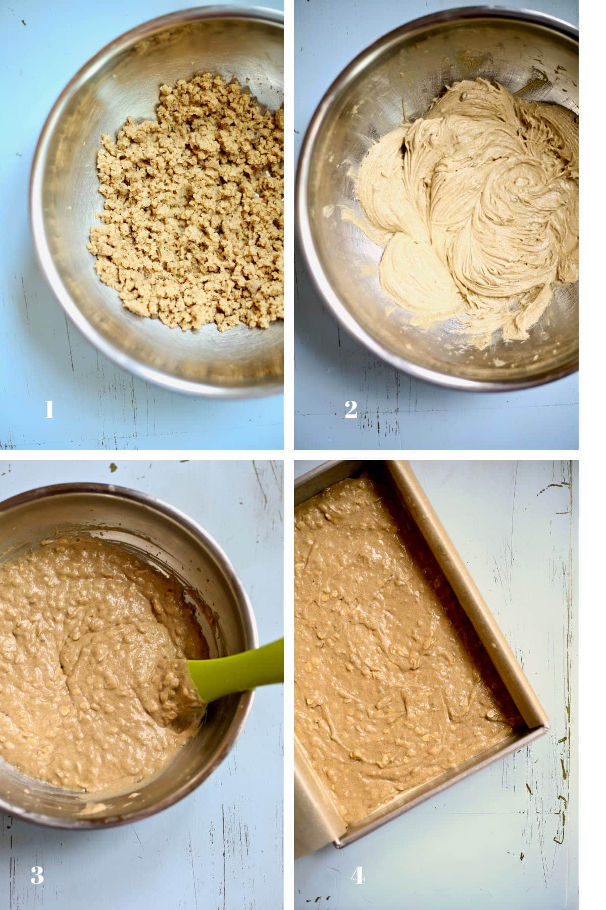 Four images of a fresh banana cake being made