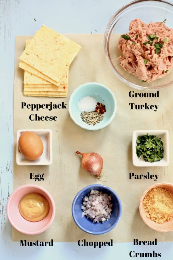 Ingredients for turkey burger with text