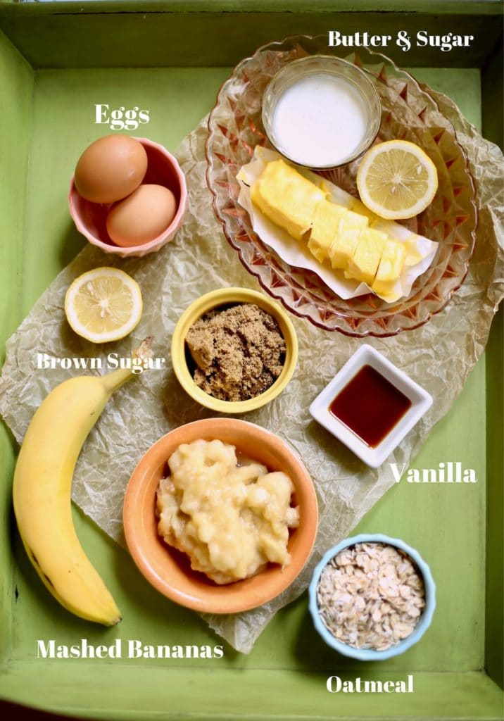 ingredients for fresh banana cake with text