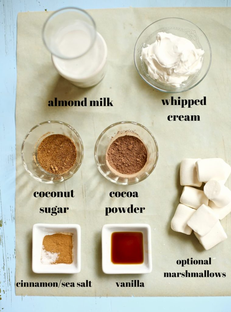 ingredients for my favorite hot chocolate