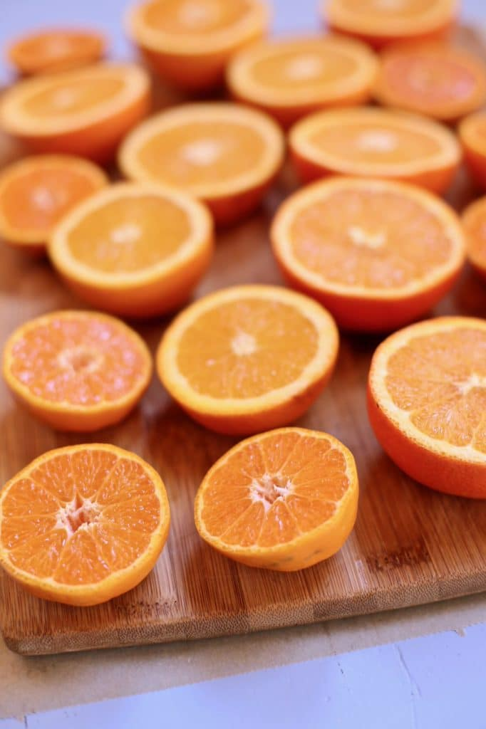 cut citrus on a cutting board