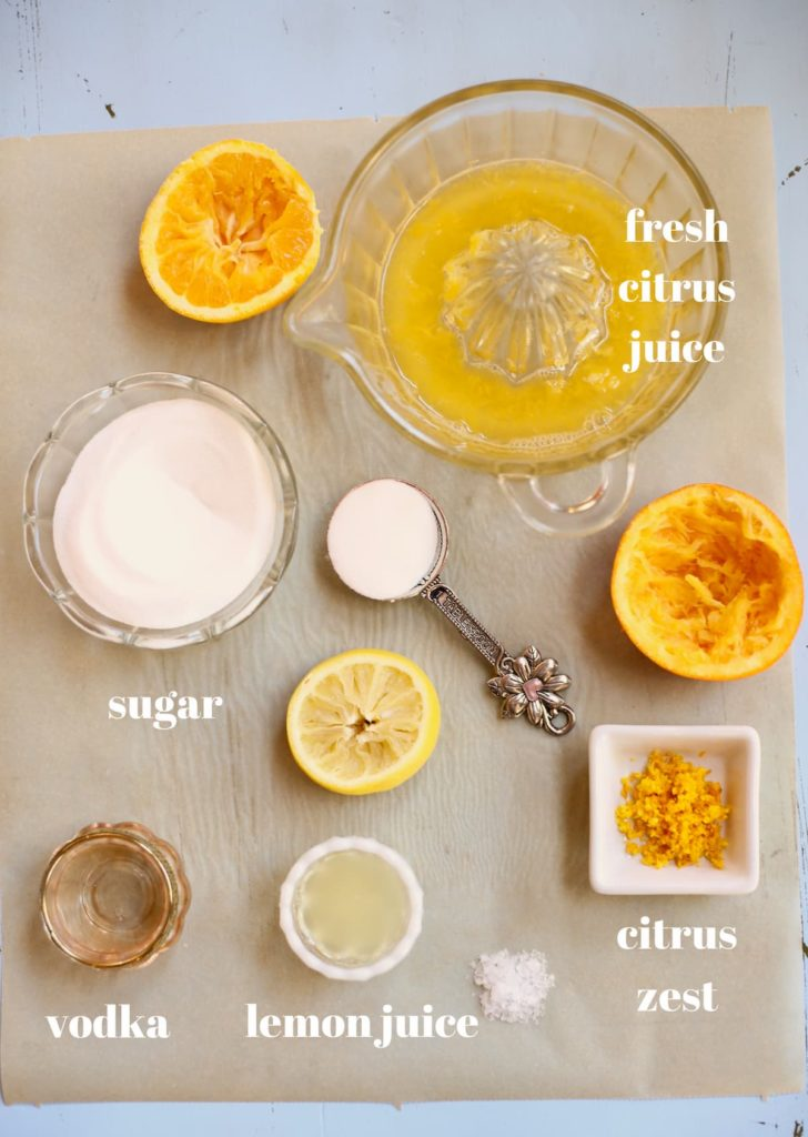 ingredients and text for sorbet