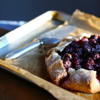 blackberry dessert on a baking tray