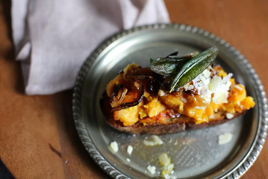 Squash Toast with Caramelized Shallot and Fried Sage
