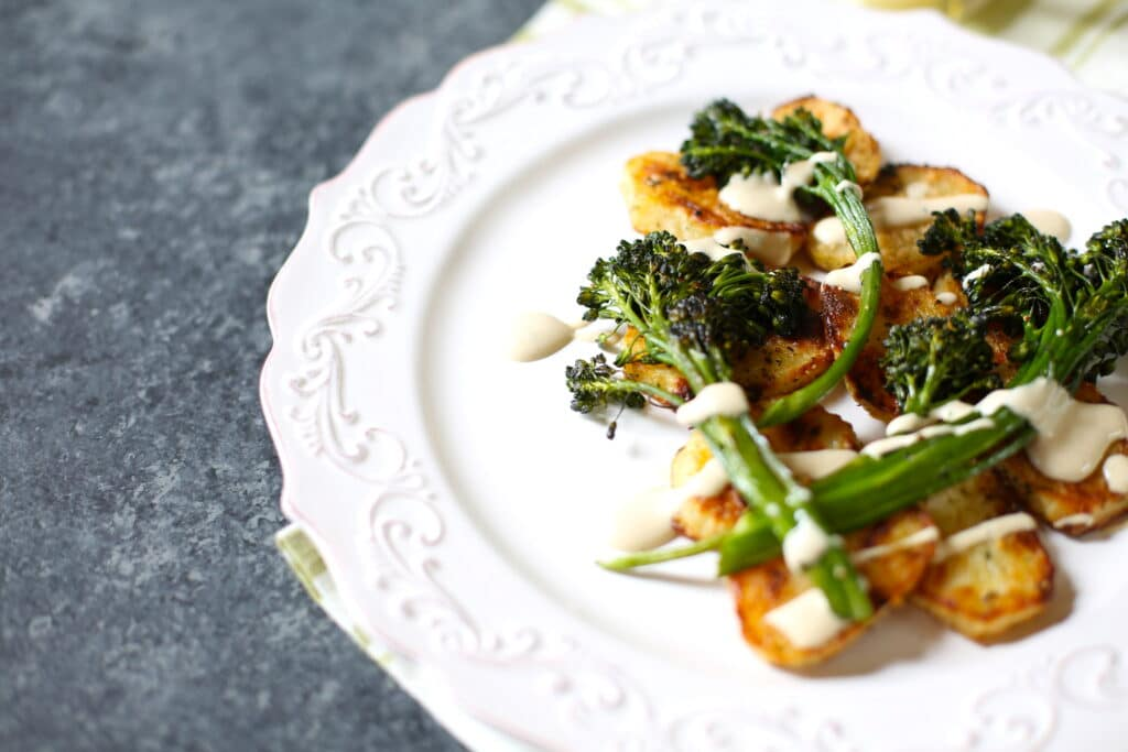 Parmesan potatoes with roasted broccolini