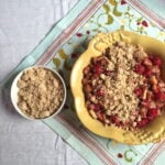 fruit crisp in a yellow pan