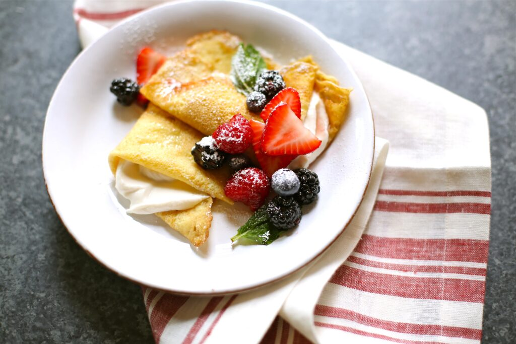 Fresh Berry Crepes With Whipped Ricotta Cheese