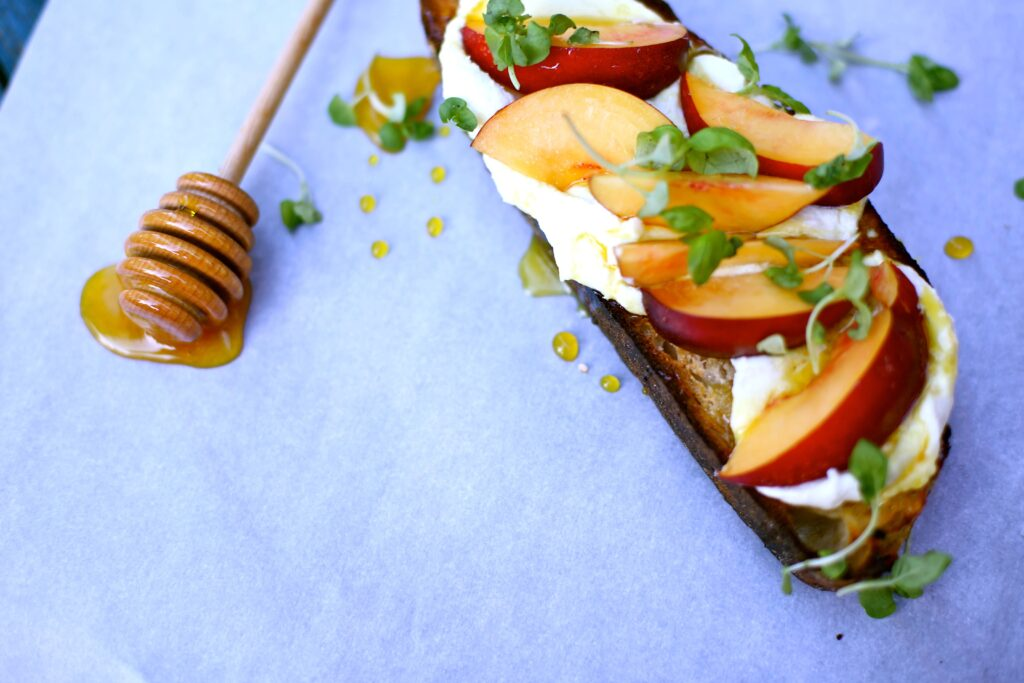 Nectarine Toast with Honey Goat Cheese