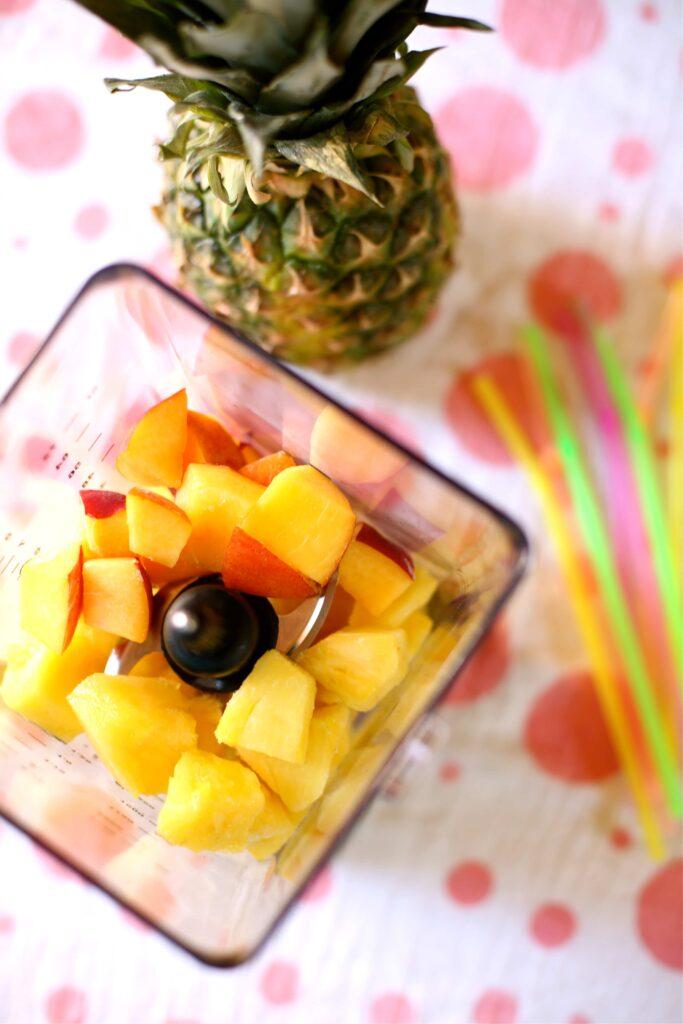 fresh fruit, cut inside a blender