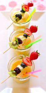 fruit slushees on a white background