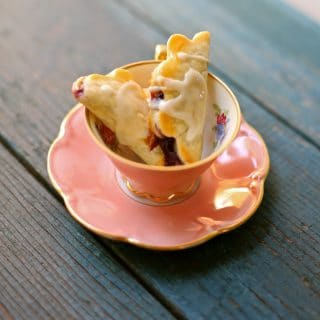 mini pies in a pink teacup