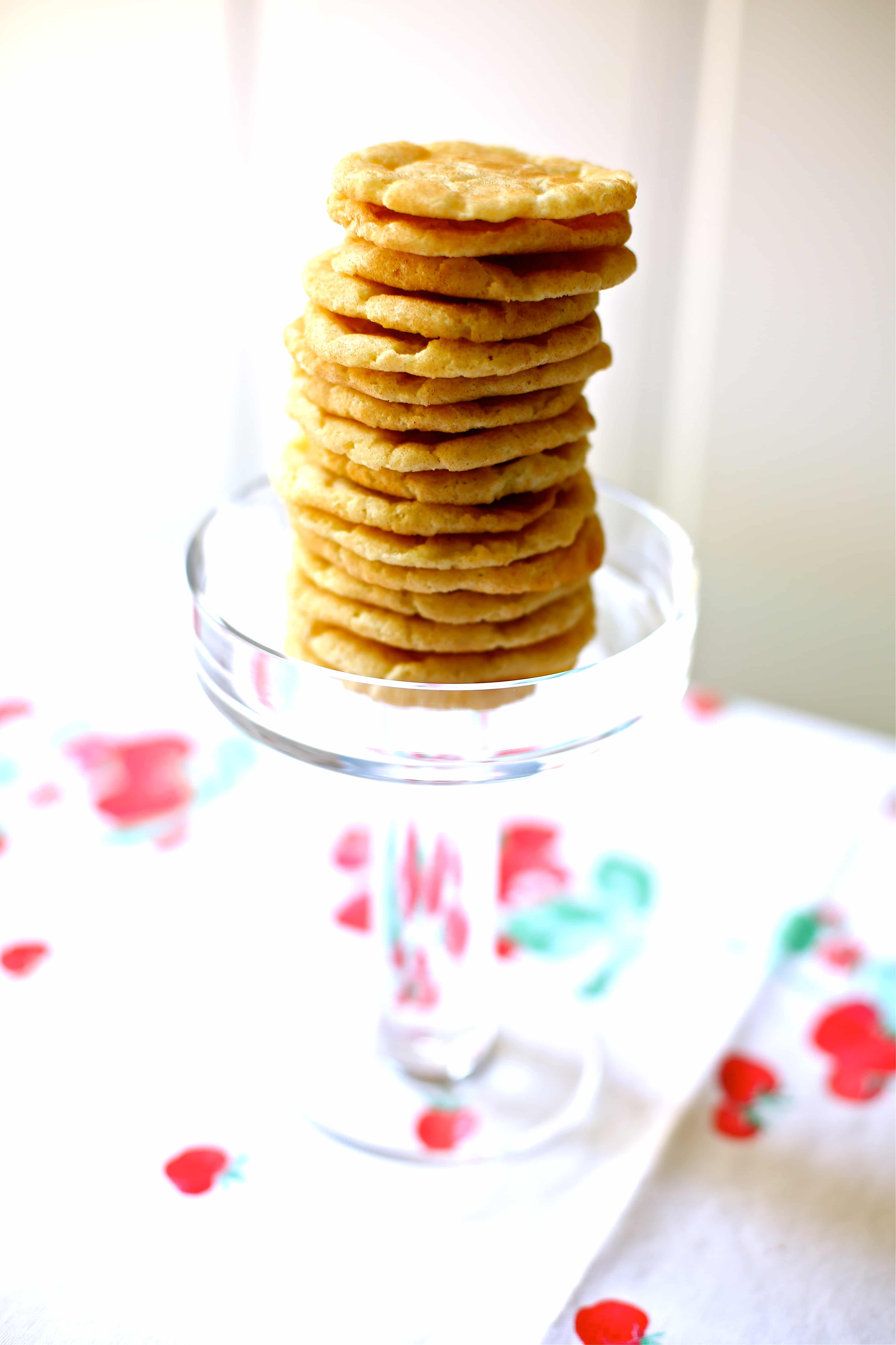 cookies stacked on a glass plate