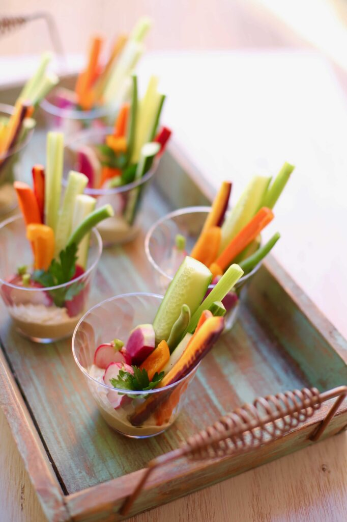 Veggie Cups with Hummus on a tray