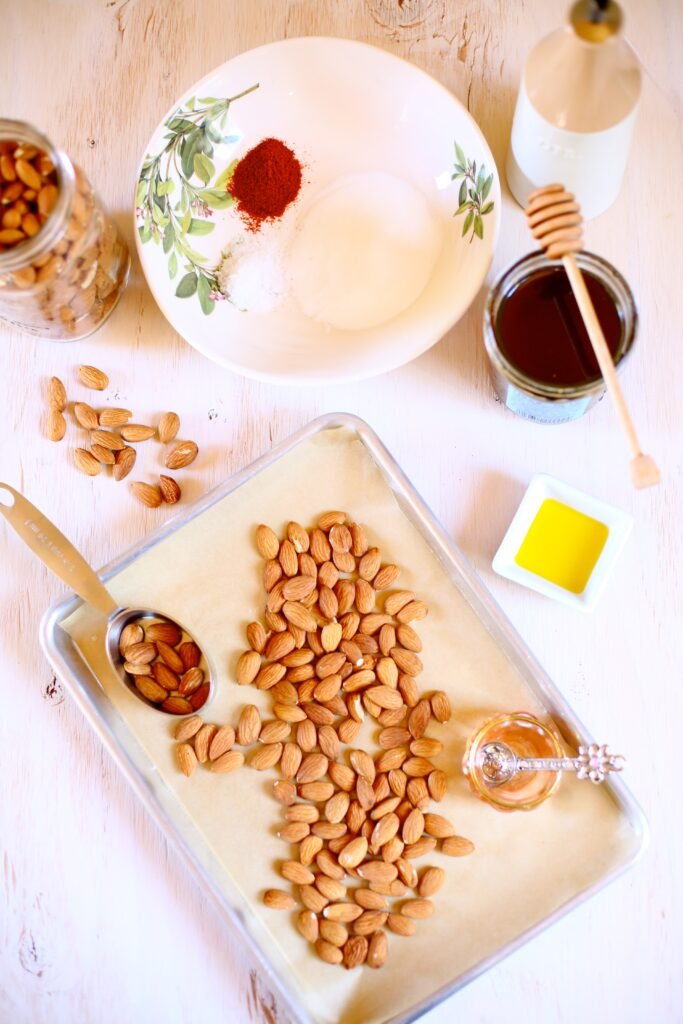 Ingredients for Sweet and Spicy Almonds - spices, almonds and honey