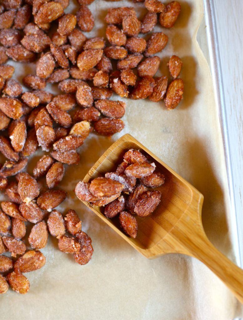 Sweet and Spicy Almonds on a baking tray