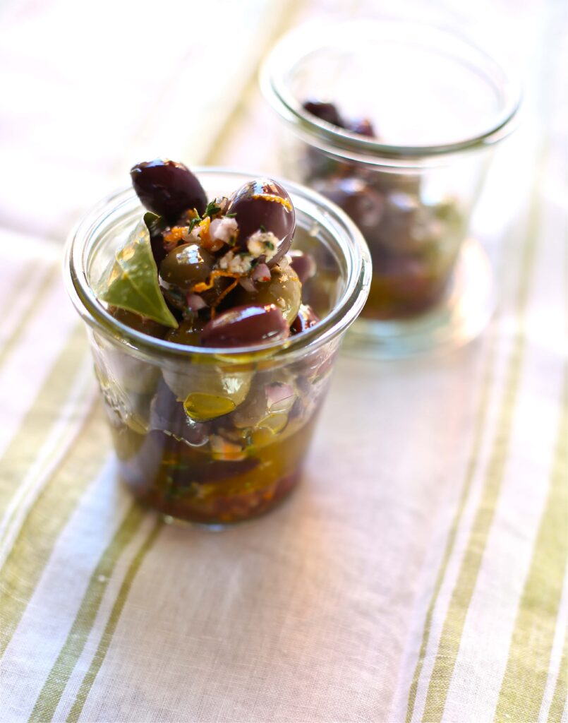 Festive Party Olives oin two small glass jars