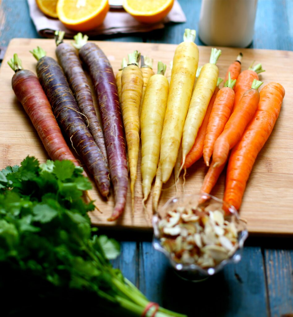 Citrus Roasted Carrots on a cutting board