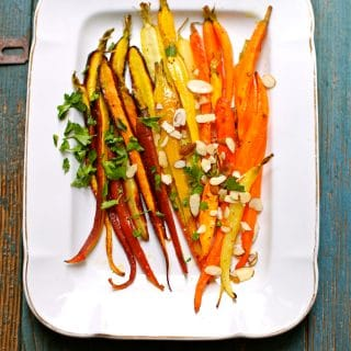 Roasted Carrots on a white tray