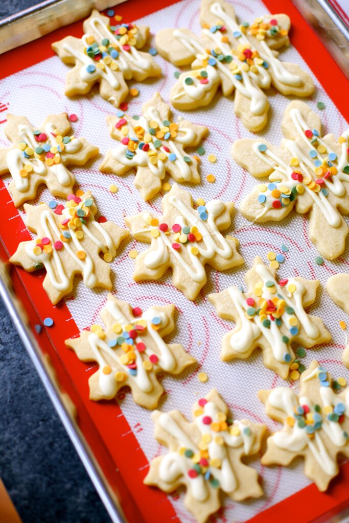 decorated cookies on a platter