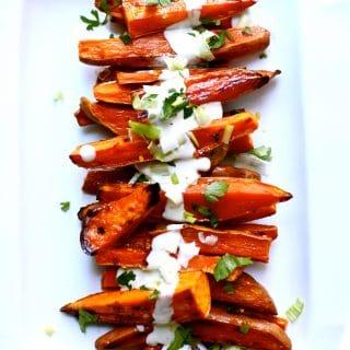 Spicy Roasted Sweet Potatoes with Yogurt Sauce
