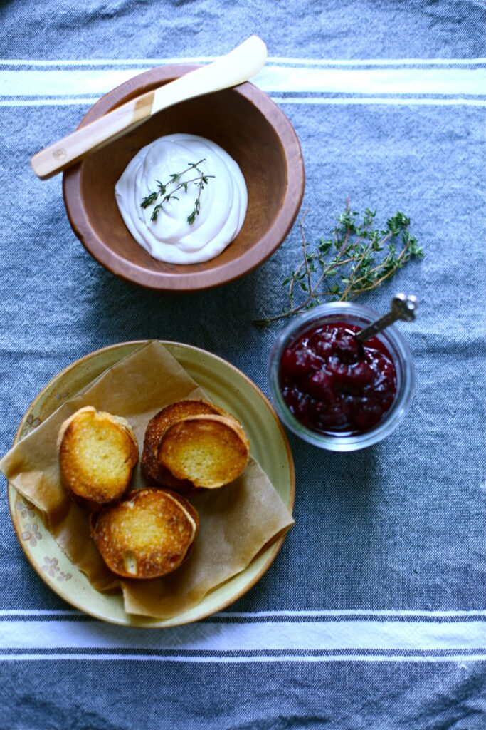Ingredients for Goat Cheese Toasts with Cranberry Compote