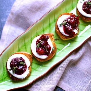 Goat Cheese Toasts with Cranberry Compote