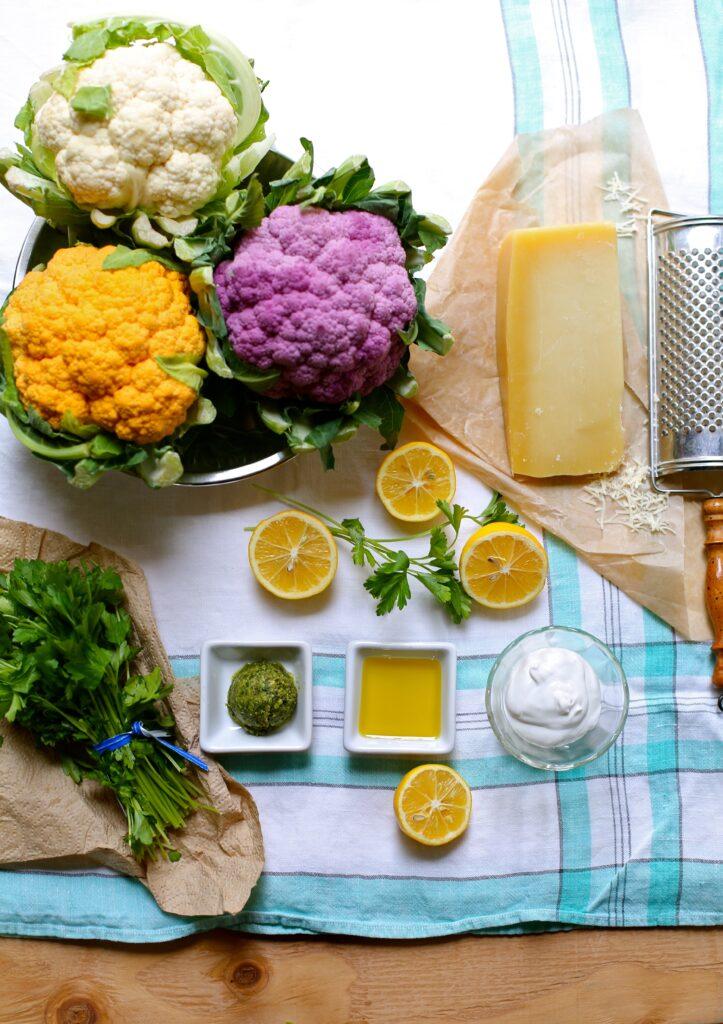 Parmesan Roasted Cauliflower with Pesto Yogurt