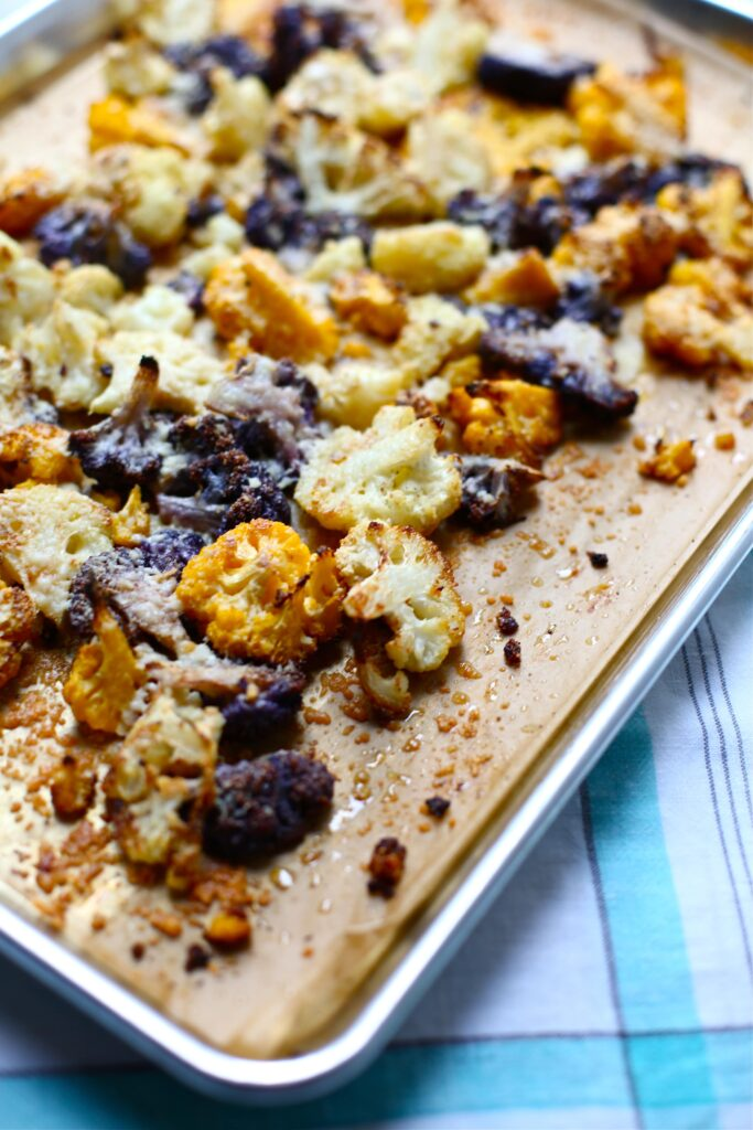 Parmesan Roasted Cauliflower with Pesto Yogurt