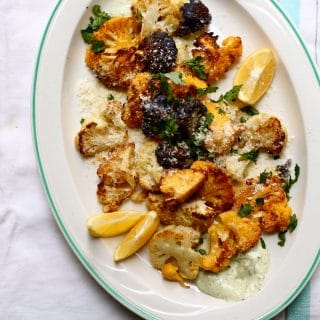 Parmesan Roasted Cauliflower with Yogurt Pesto