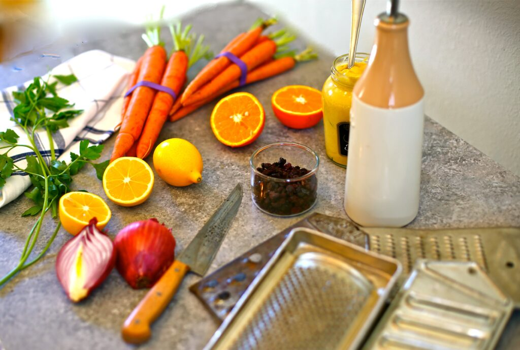 Ingredients for Modern Carrot Salad - fresh citrus, currants, parsely,shallots and carrots