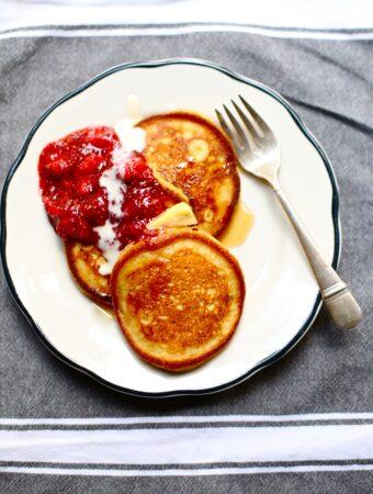 pancakes on a white dish