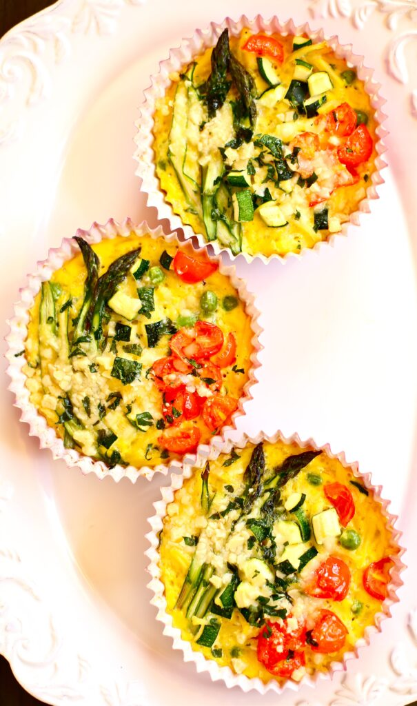 Three Spring Vegetable Fritattas on white plate