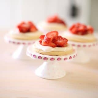 cookies with strawberries on a table