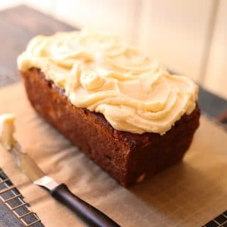 Banana Bread on a board and knife next to it