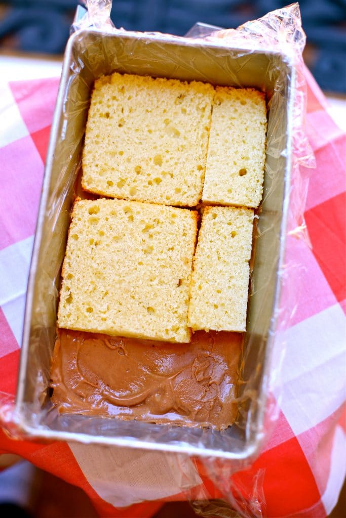 Chocolate Ice Cream and vanilla pound cake in a pan on red checkered tablecloth