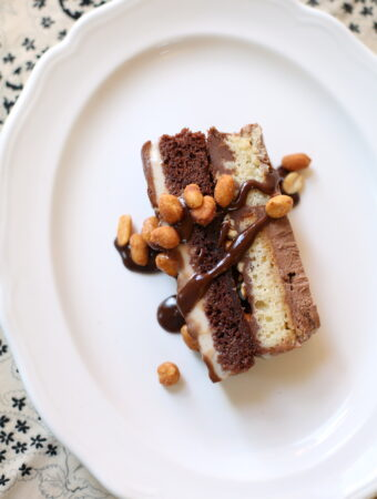 a piece of ice cream cake with peanut butter ganache on a white plate topeed with peanuts
