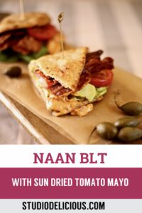 BLT on a cutting board and text