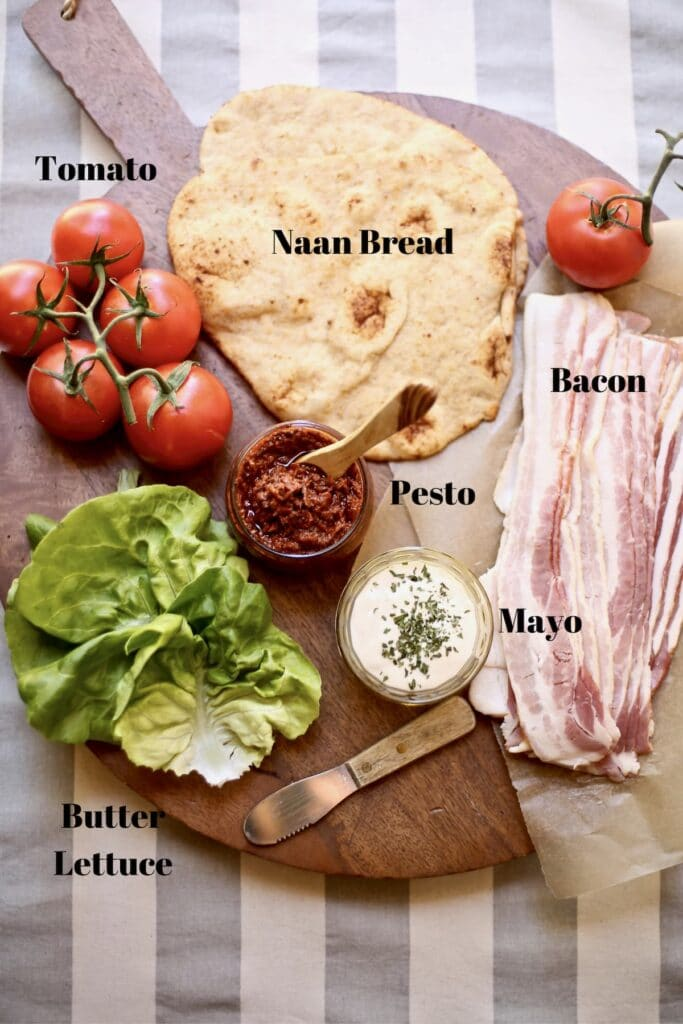 ingredients for BLT on a cutting board