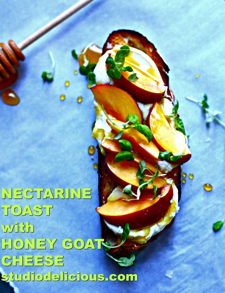 NECTARINE TOAST WITH HONEY GOAT CHEESE AND TEXT ON A BLUE BACKGROUND