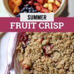 fruit crisp photo and bowl of fruit with text