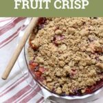 fruit crisp with text on a striped cloth
