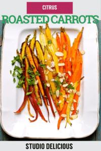 roasted carrots on a white platter