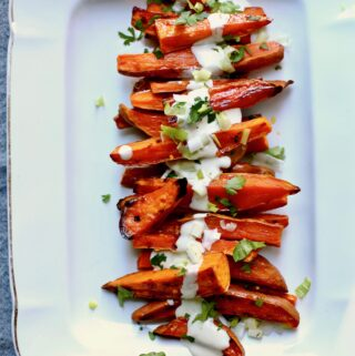Roasted Sweet Potatoes on a white platter