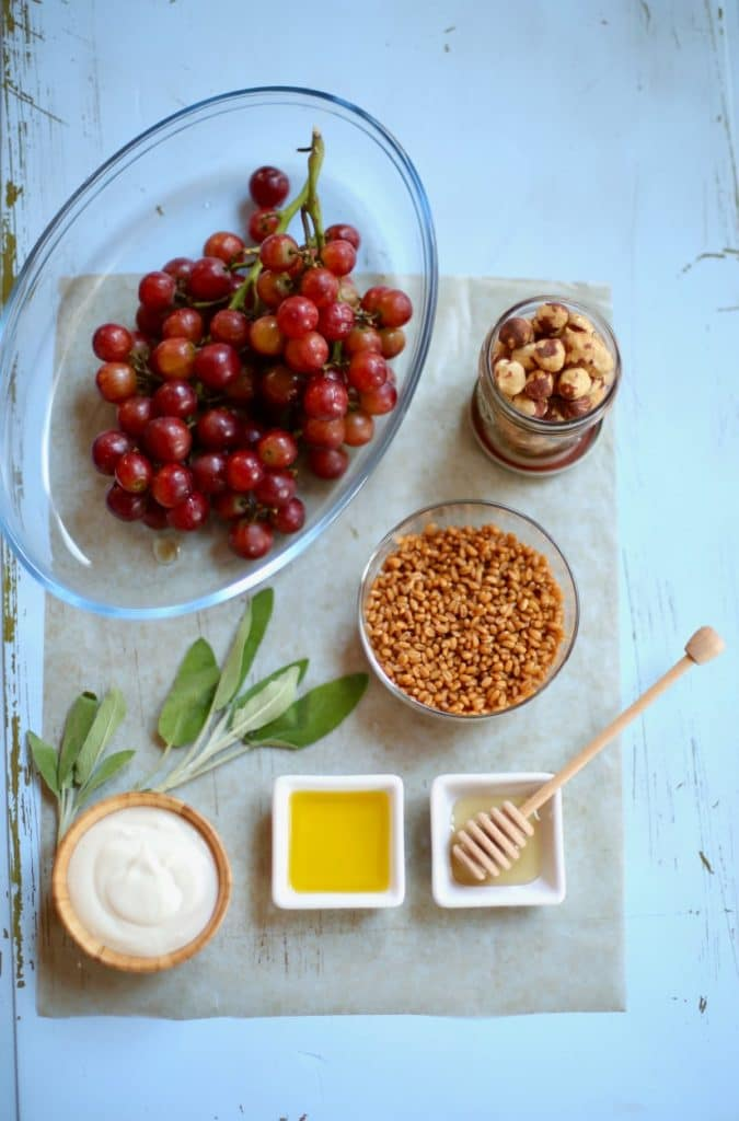 grapes, grains and nuts and honey and yogurt on a blue table