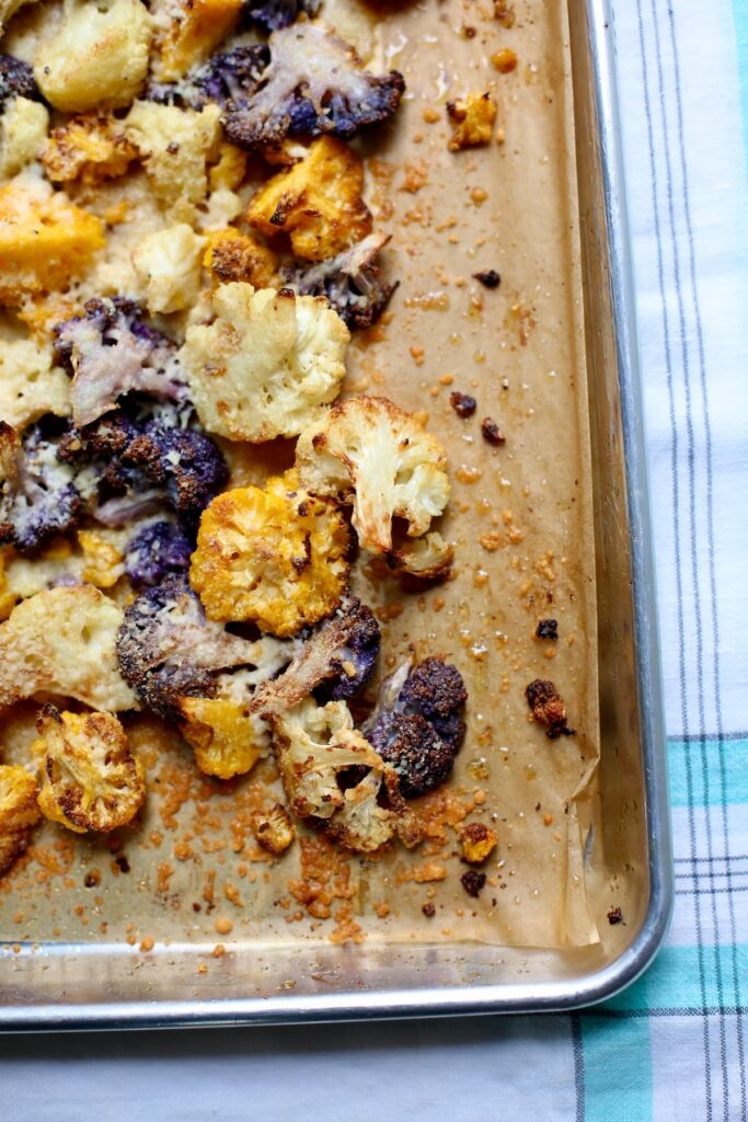 a baking sheet of roasted cauliflower.