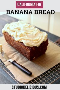 banana bread ona cooling rack with text