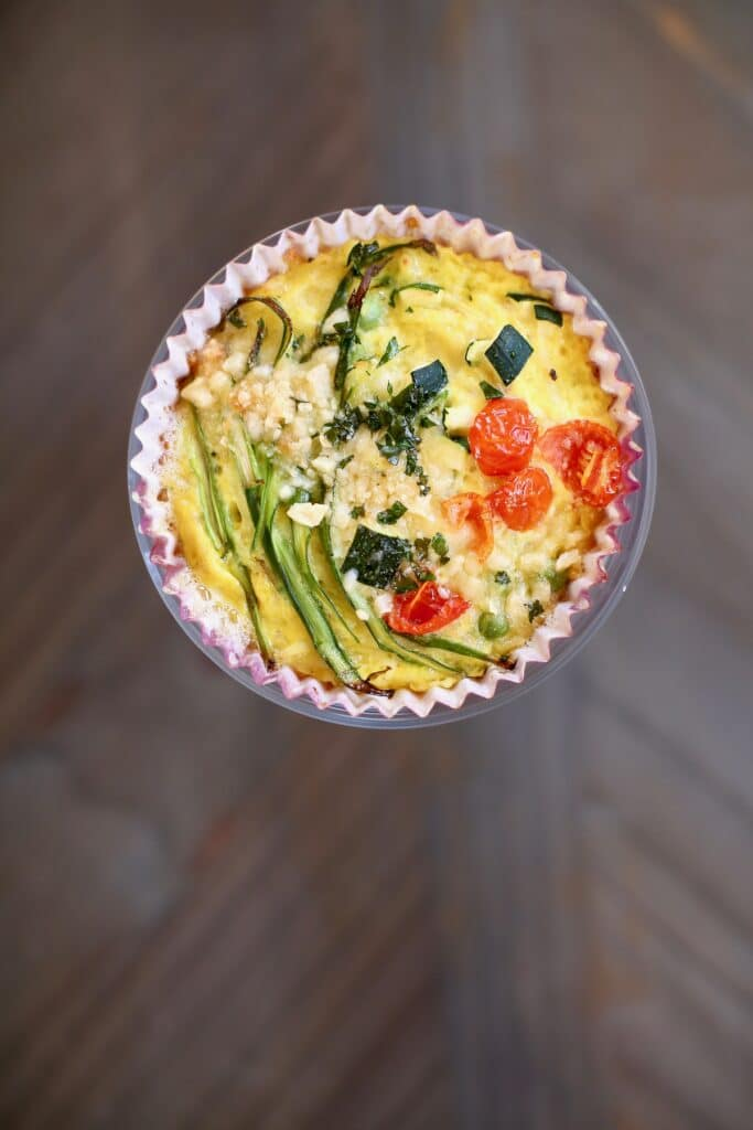 close up photo of a vegetable frittata