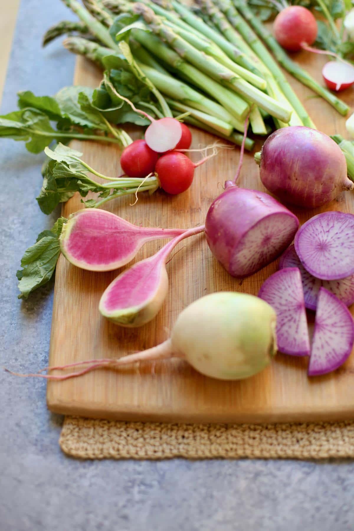 cut vegetables on a cutting board