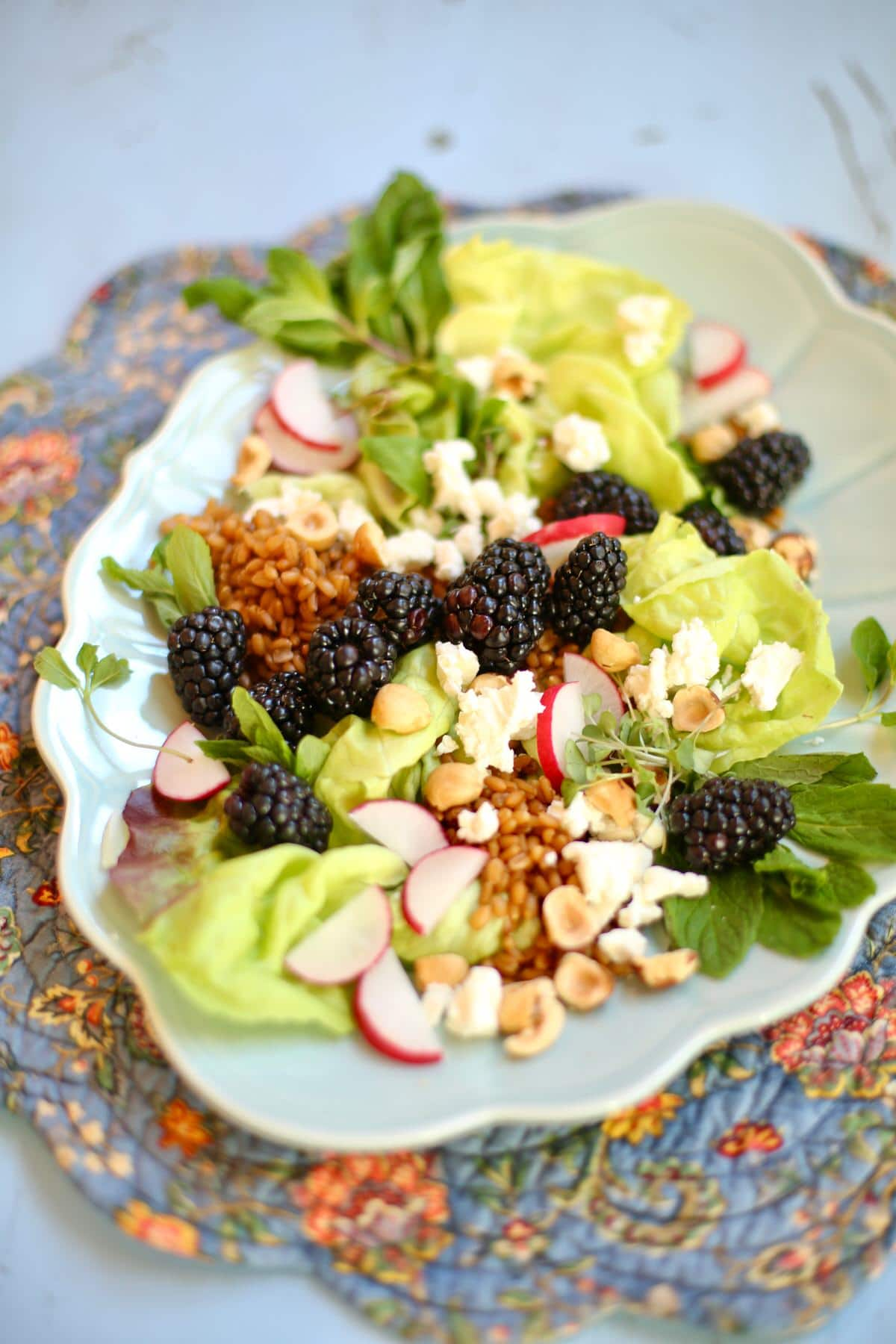 Blackberry, Goat Cheese, greens, radish and hazelnuts on a ling blue platter