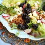 close up of blackberry salad with grains and hazelnuts and goat cheese and radish on a blue plate and table